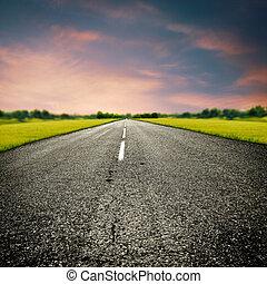 transport, väg, land, abstrakt, bakgrunder, resa