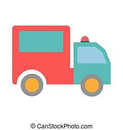 transport, véhicule, livraison, icône, isolé, conception, camion