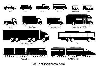 transport, véhicules, icons., liste, débarqué, commercial
