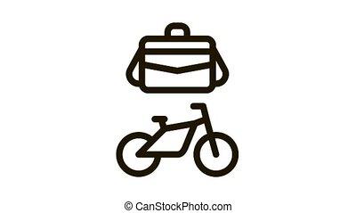 transport, vélo, cas, animation, bureau, icône