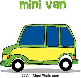 transport, vecteur, fourgon, mini