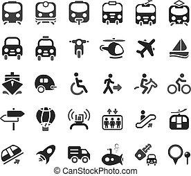 transport, vecteur, icônes