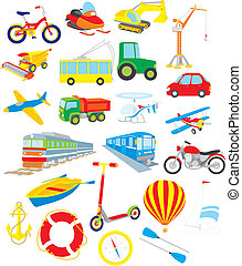 Vector clip-arts of vehicles, on a white background