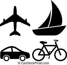 Transport vector icons isolated on white