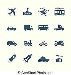 Transport vector icons set, side view