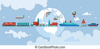 Transport vehicles concept - Transport concept with water...