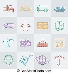 transport, vektor, beklæde, ikon, sæt