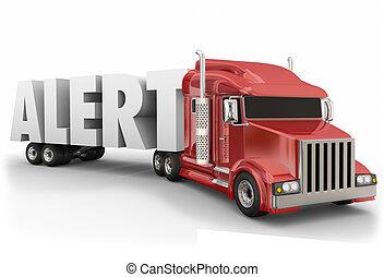 transport, wach, reise, treiber, lastwagen, aufenthalt, sicherheit, wort, alarm