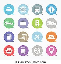 transport, webikon, satz, in, farbe, vortrag halten , wolkenhimmel
