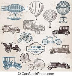transport, weinlese, altmodisch, -, sammlung, vektor, illustrationen, set: