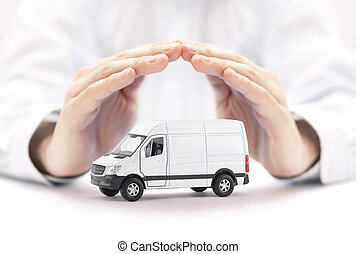 Transport white van car protected by hands