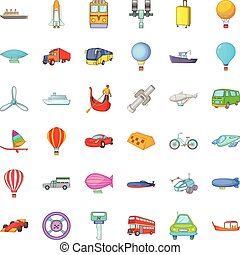 Transport with driver icons set, cartoon style