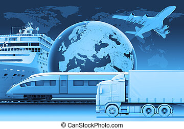 Transport with earth and world map on blue