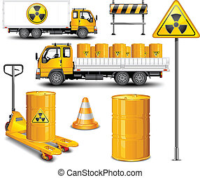 Transport with barrel of radioactive waste and rod sign, vector illustration