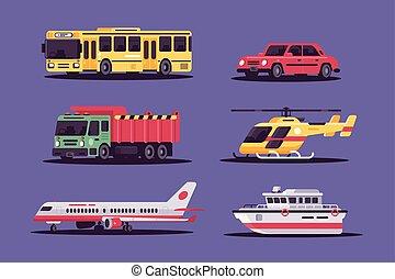 transport., ziemia, powietrze, zbiór, zawiera, morze