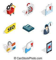 Transportable computer icons set, isometric style
