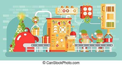 transportador, duendes, árbol, ilustración, regalos, navidad, aislado, estilo, paquete, festively, arriba, plano, picea, vestido