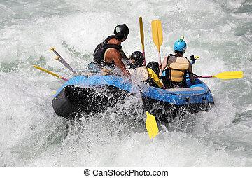 transportar branco água, ligado, a, correntezas, de, rio