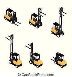 transportar, pesado, caminhão, carregador, forklifts,...