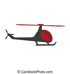 transportar, voando, isolado, aeronave, vetorial, chopper, helicóptero, ícone