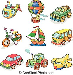 transportation-, γελοιογραφία , συλλογή , έγχρωμος