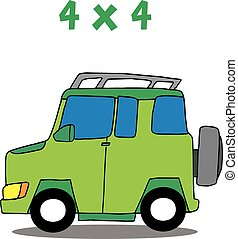 Transportation 4x4 cartoon vector art