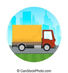 Icon Red Orange Cargo Delivery Truck