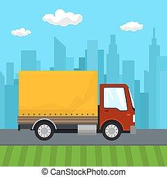 Red Orange Cargo Delivery Truck