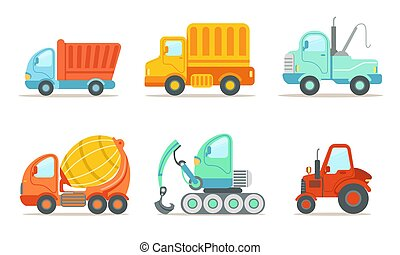Transportation and Construction Machinery Set, Tractor, Eexcavator, Tow and Cement Truck Vector Illustration