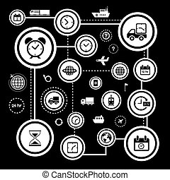 transportation and time icon set