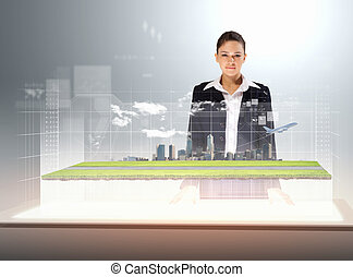 Transportation and travel - Image of young businesswoman...