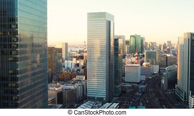 view to tokyo city and railway station in japan -...