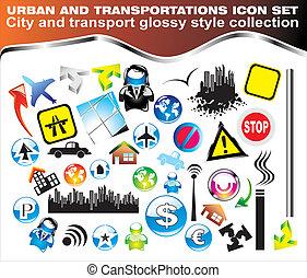 Transportation and urban icon set