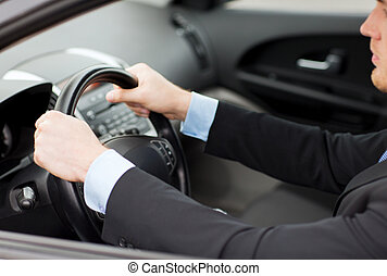 businessman driving a car - transportation and vehicle ...