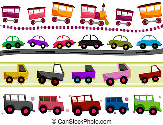 Transportation Borders - Transportation Border Set with...