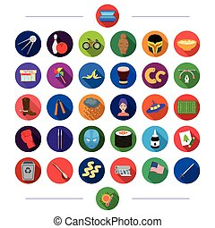 , transportation, business, history and other web icon in flat style.competition, ecology, nature, icons in set collection.