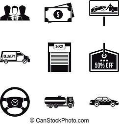 Transportation business icons set, simple style