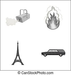 transportation, business, tourism and other monochrome icon in cartoon style., car, hearse, funeral, icons in set collection.