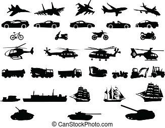 transportation - Collection of transport vehicles - vector