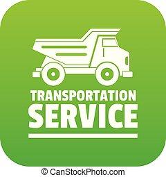 Transportation company icon green vector