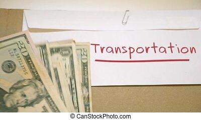 Transportation costs concept - Saving cash for...