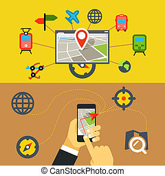 Transportation digital applications. Flat design concept