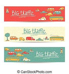 Transportation Doodle Banner Set