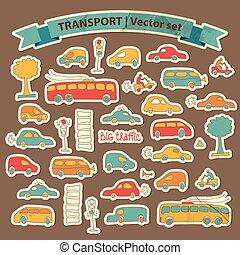 Transportation Doodle Icon Set