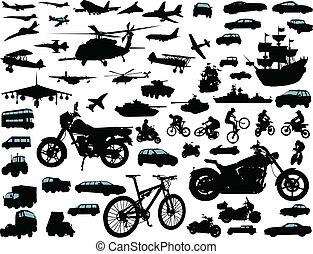 Transportation - Set of transportation silhouettes: cars,...