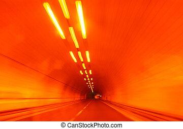 driving through a traffic tunnel