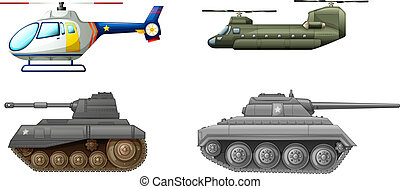 Illustration of the transportation equipments at the battlefield on a white background