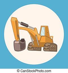 Transportation excavator truck theme elements