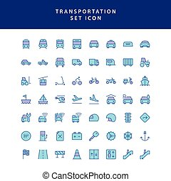 transportation filled outline icon set