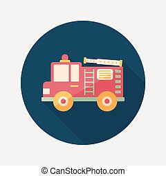 Transportation Fire truck flat icon with long shadow, eps10